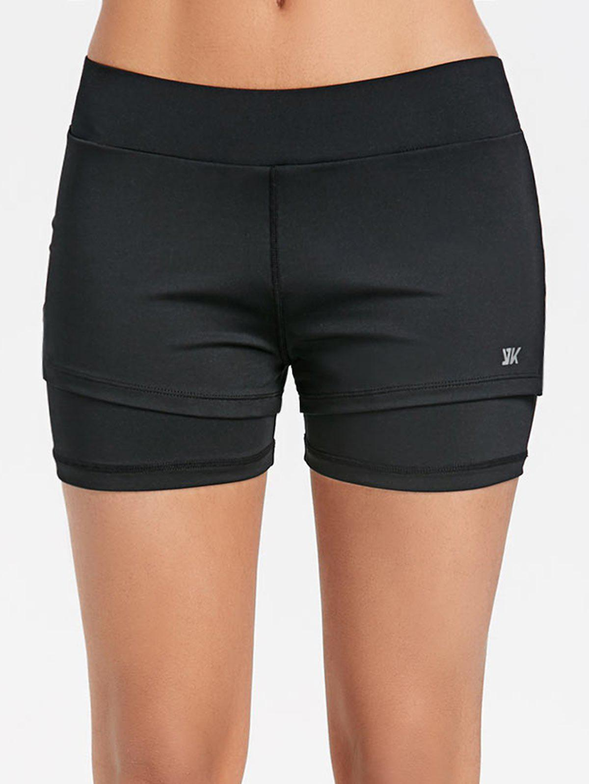 Cheap Slit Overlay Yoga Shorts