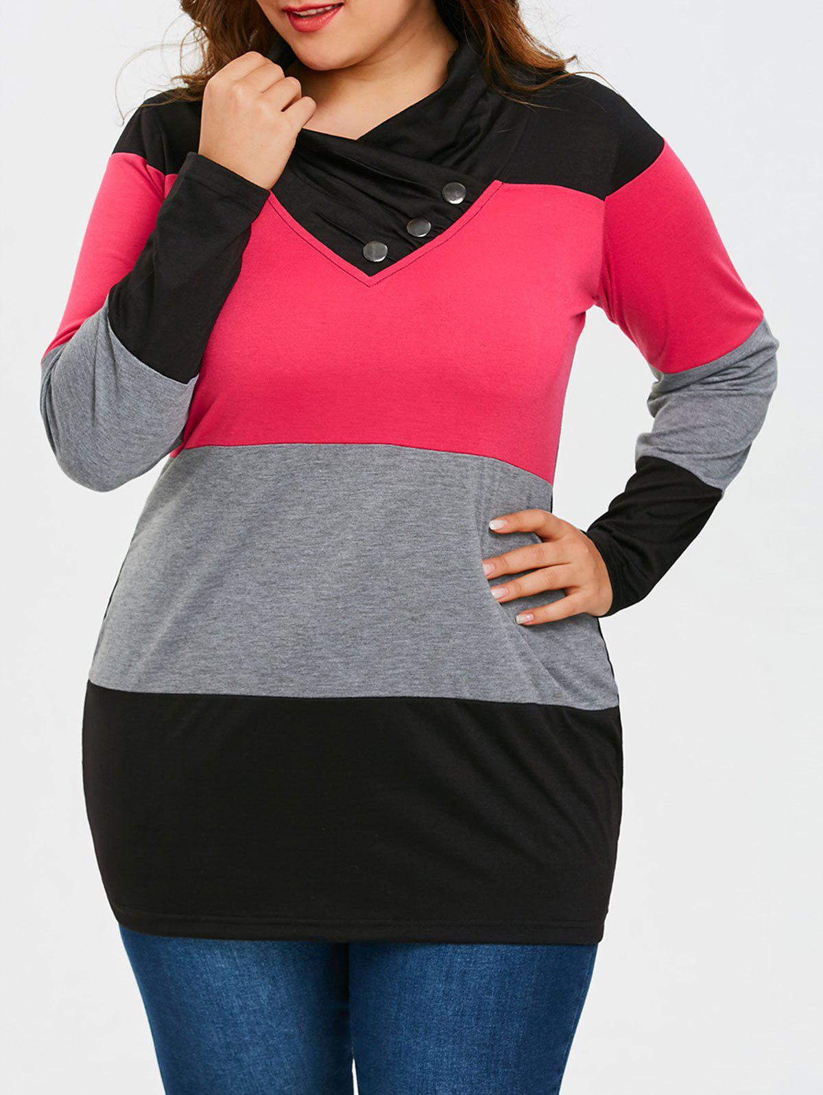 Unique Plus Size Long Sleeve Heaps Collar T-shirt