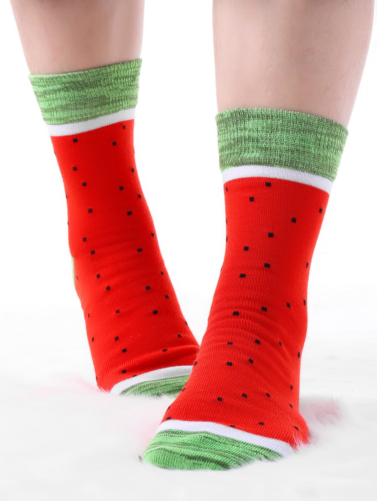 Online Pair Of Contrast Watermelon Crew Socks