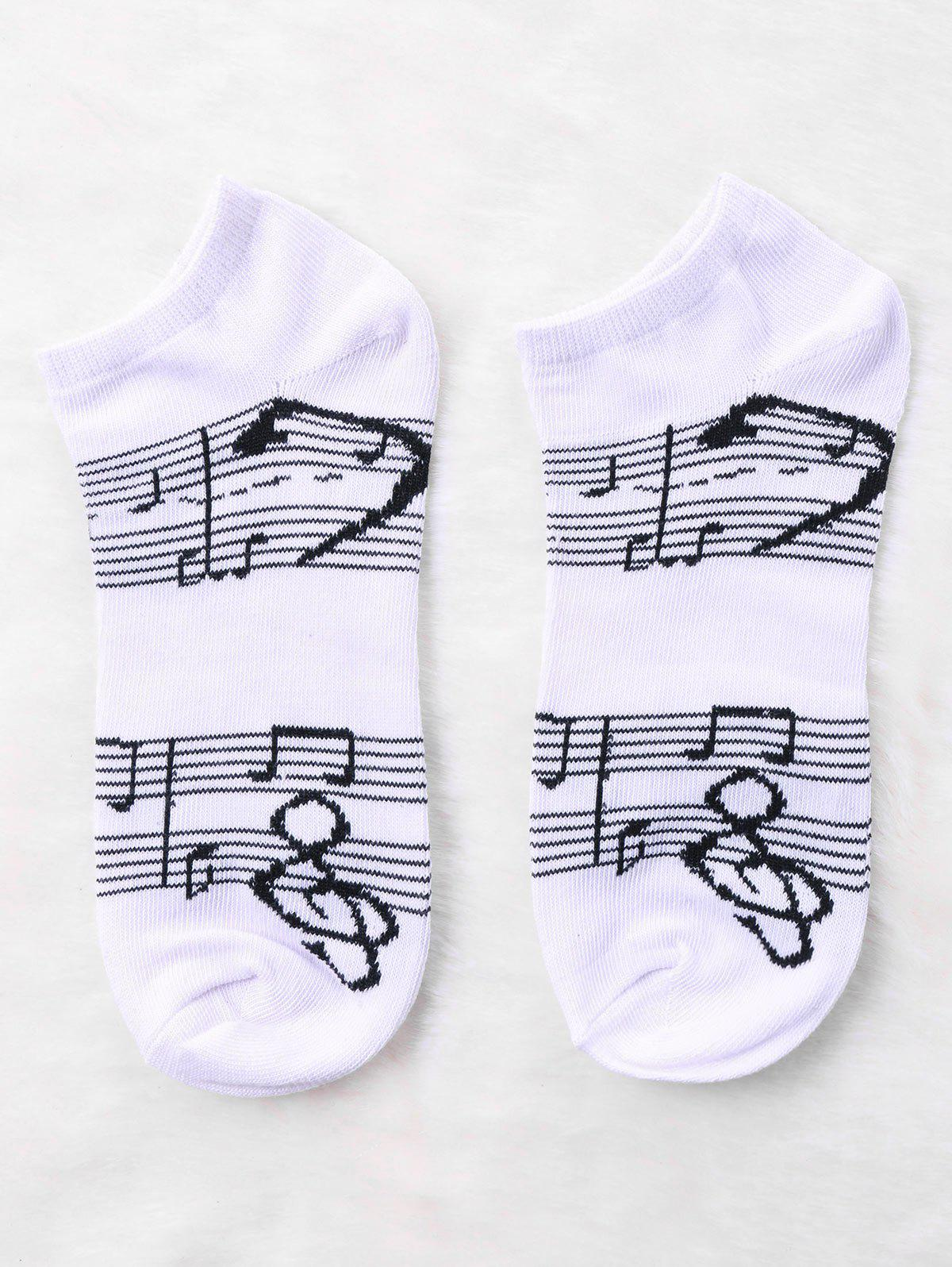 Fancy Pair Of Music Notes Print Graphic Ankle Socks