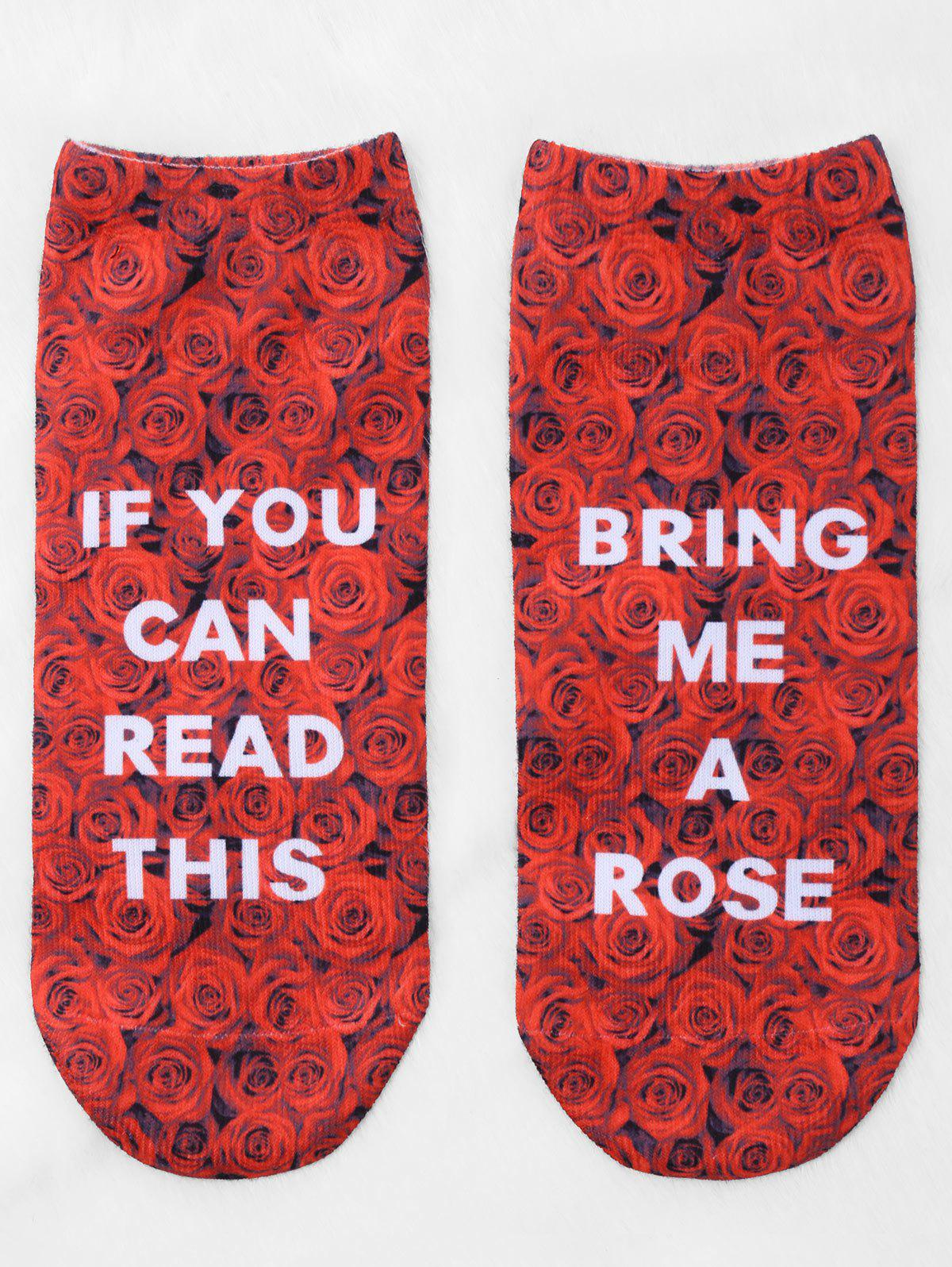Latest Pair Of Letter Rose Print Graphic Ankle Socks