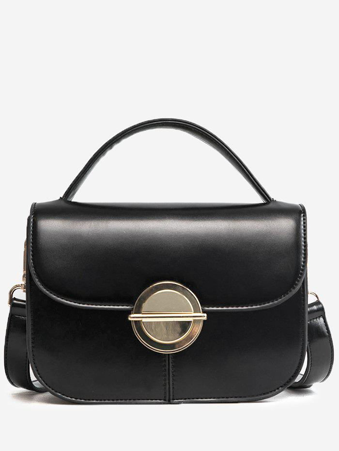 Trendy Metal Faux Leather Stitching Crossbody Bag