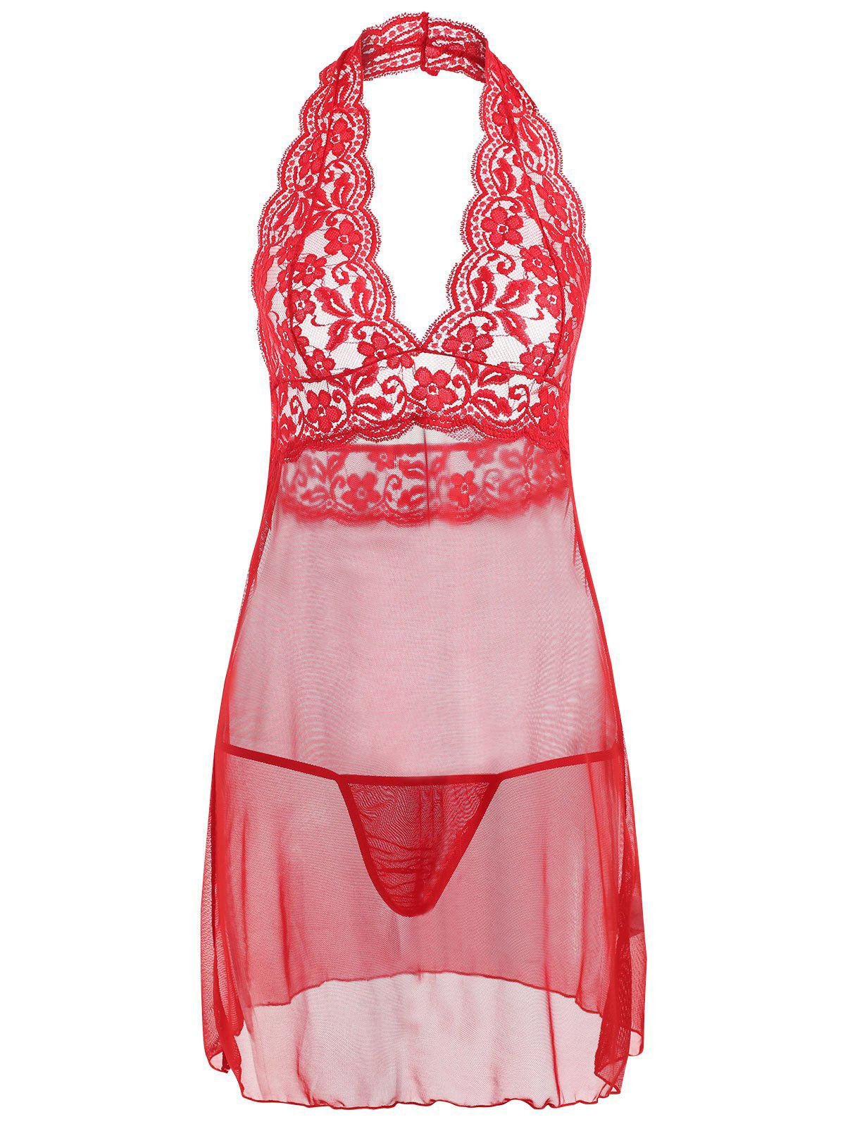 Store Halter Lace Mesh Backless Babydoll