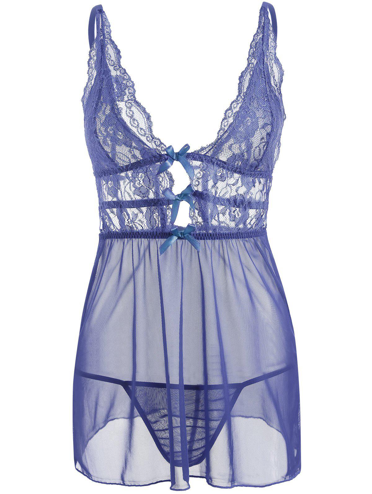 Trendy Mesh Lace Slip Caged Babydoll