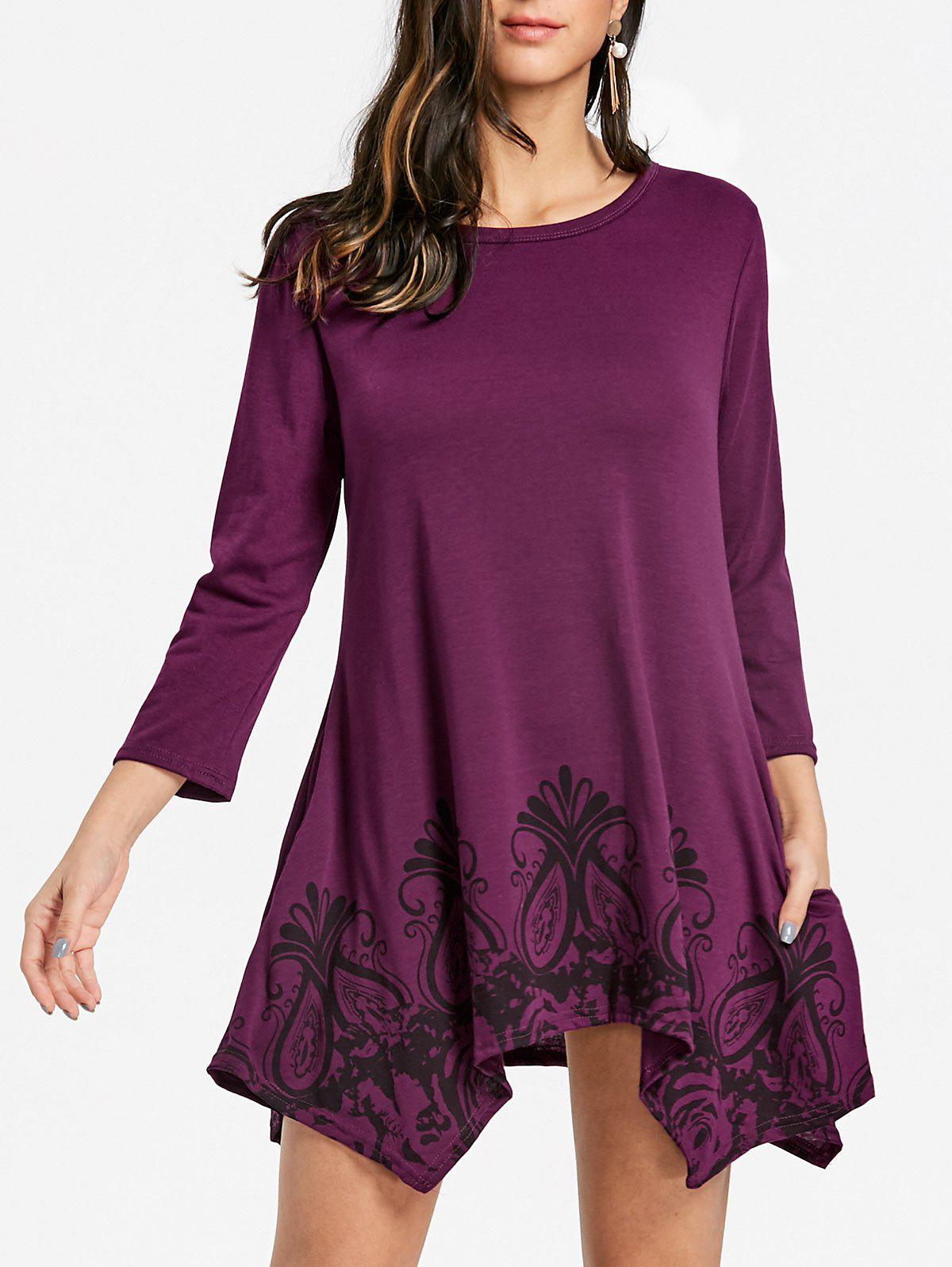 Fashion Floral Handkerchief Tunic Dress