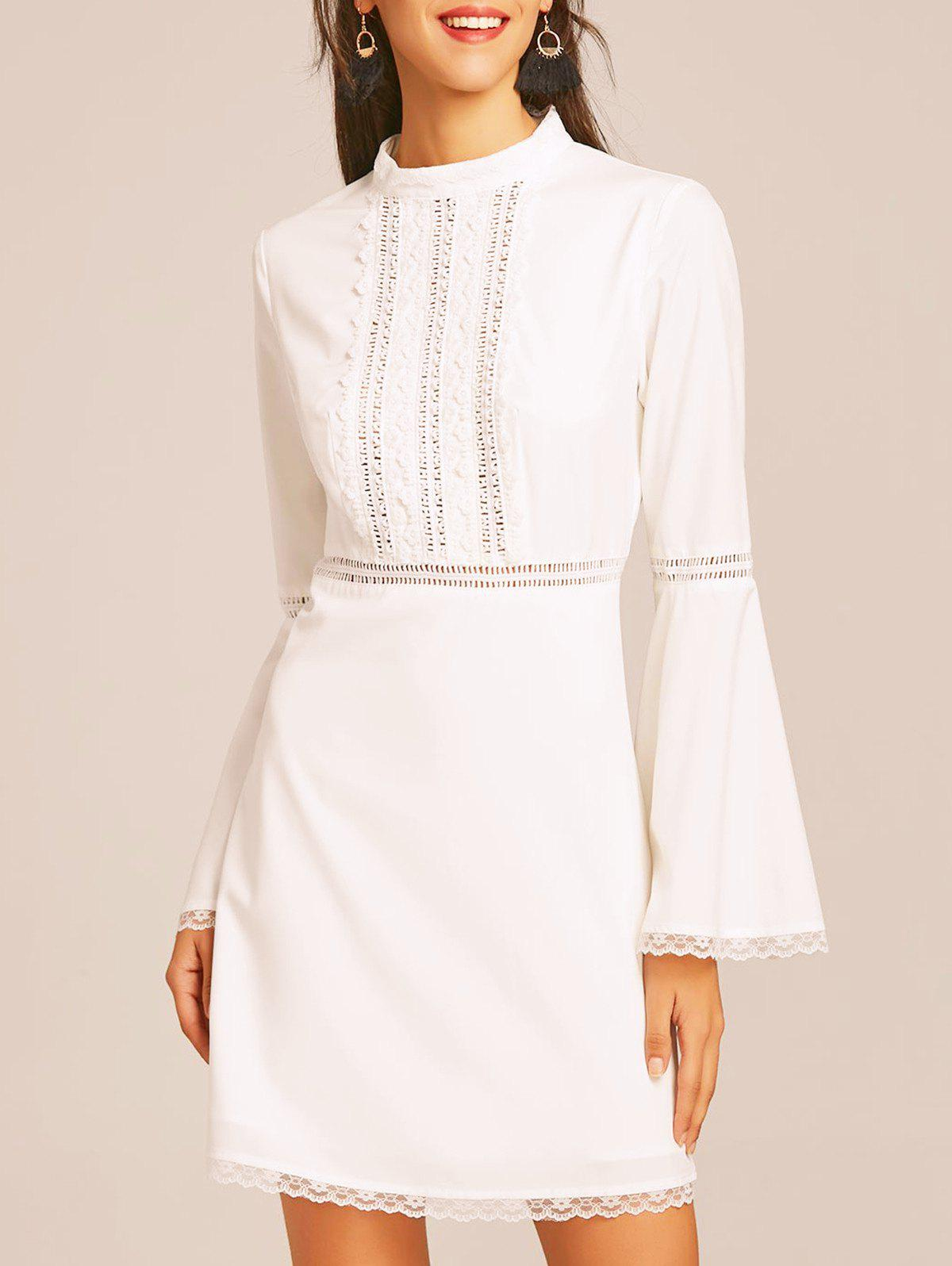 Trendy Lace Trim Flare Sleeve Flare Dress