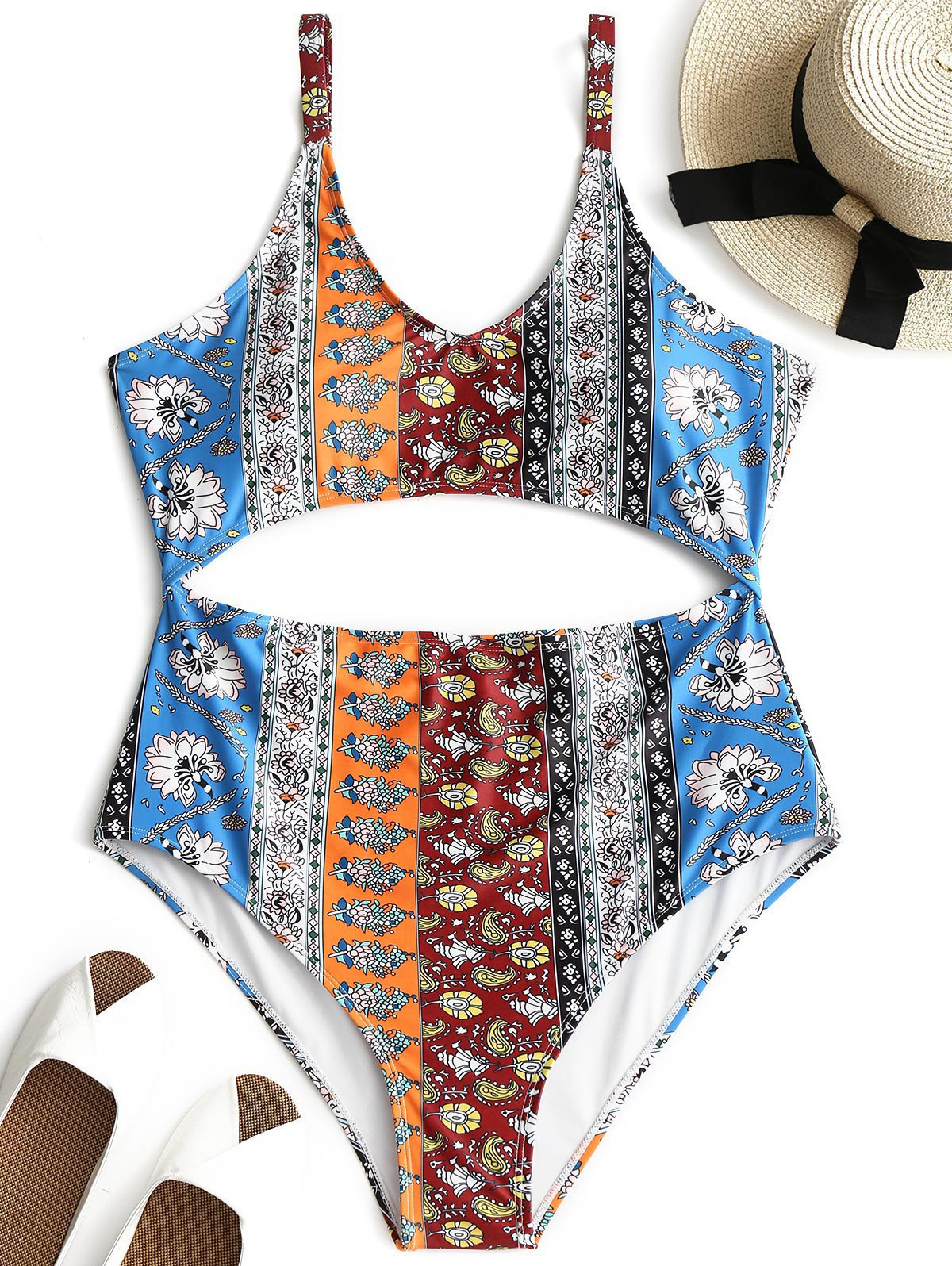 Chic Printed Cutout Plus Size Swimsuit