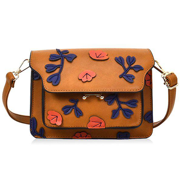 New PU Leather Floral Shoulder Bag