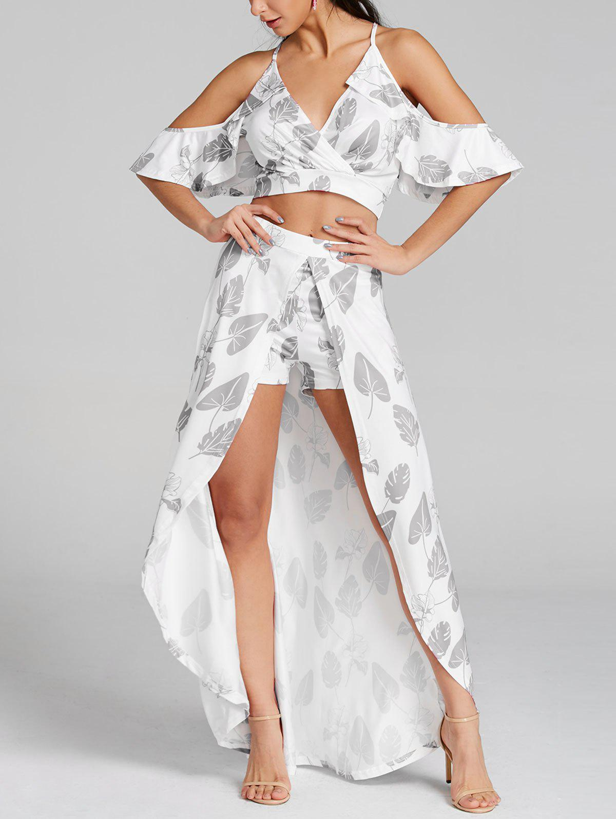 Outfits Leaves Print Cropped Top and Maxi Skirted Shorts