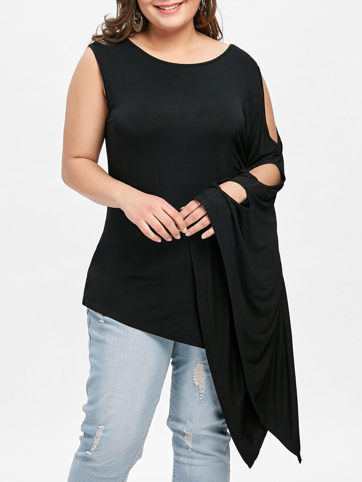Fancy Plus Size Batwing Sleeve One Shoulder Tee