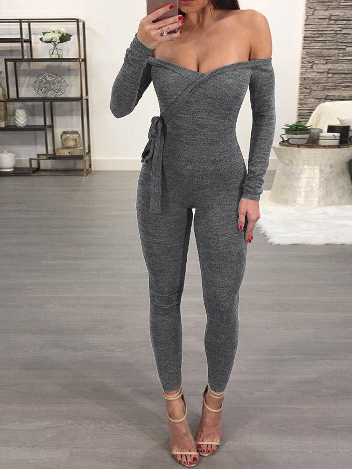 Store Plunging Neck Skinny Jumpsuit