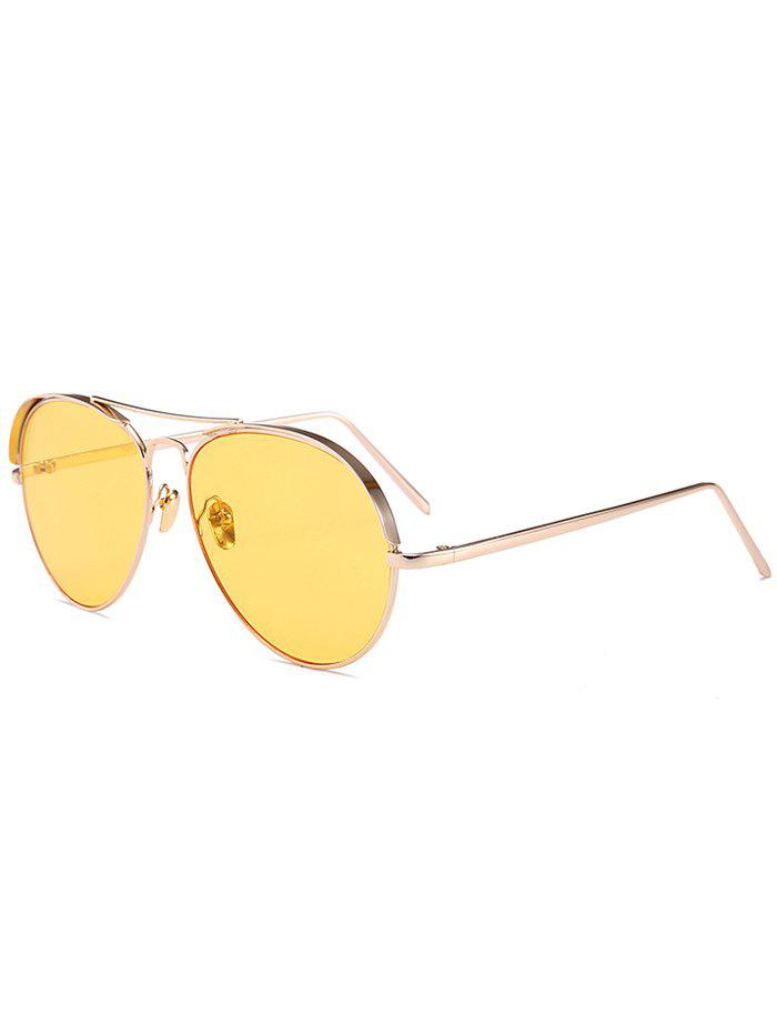 Unique Anti UV Metal Frame Crossbar Embellished Pilot Sunglasses