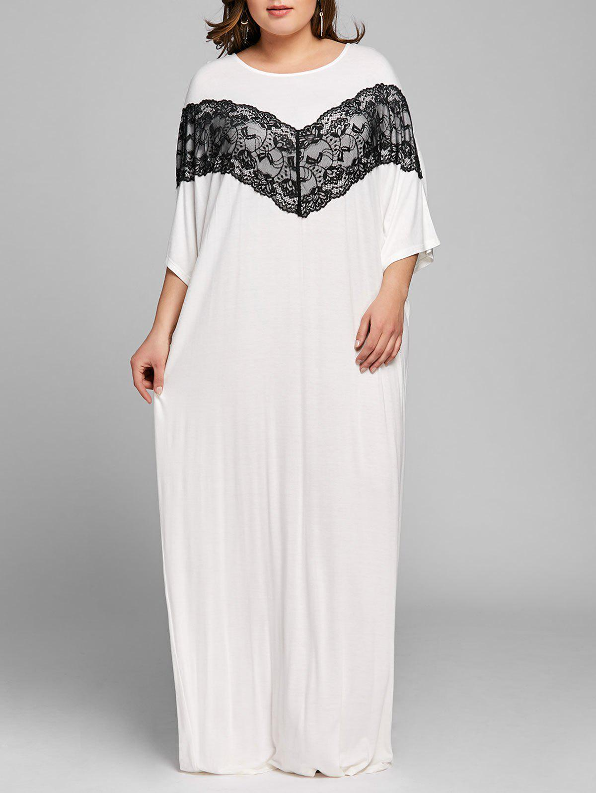 New Plus Size Lace Panel Maxi Shift Dress
