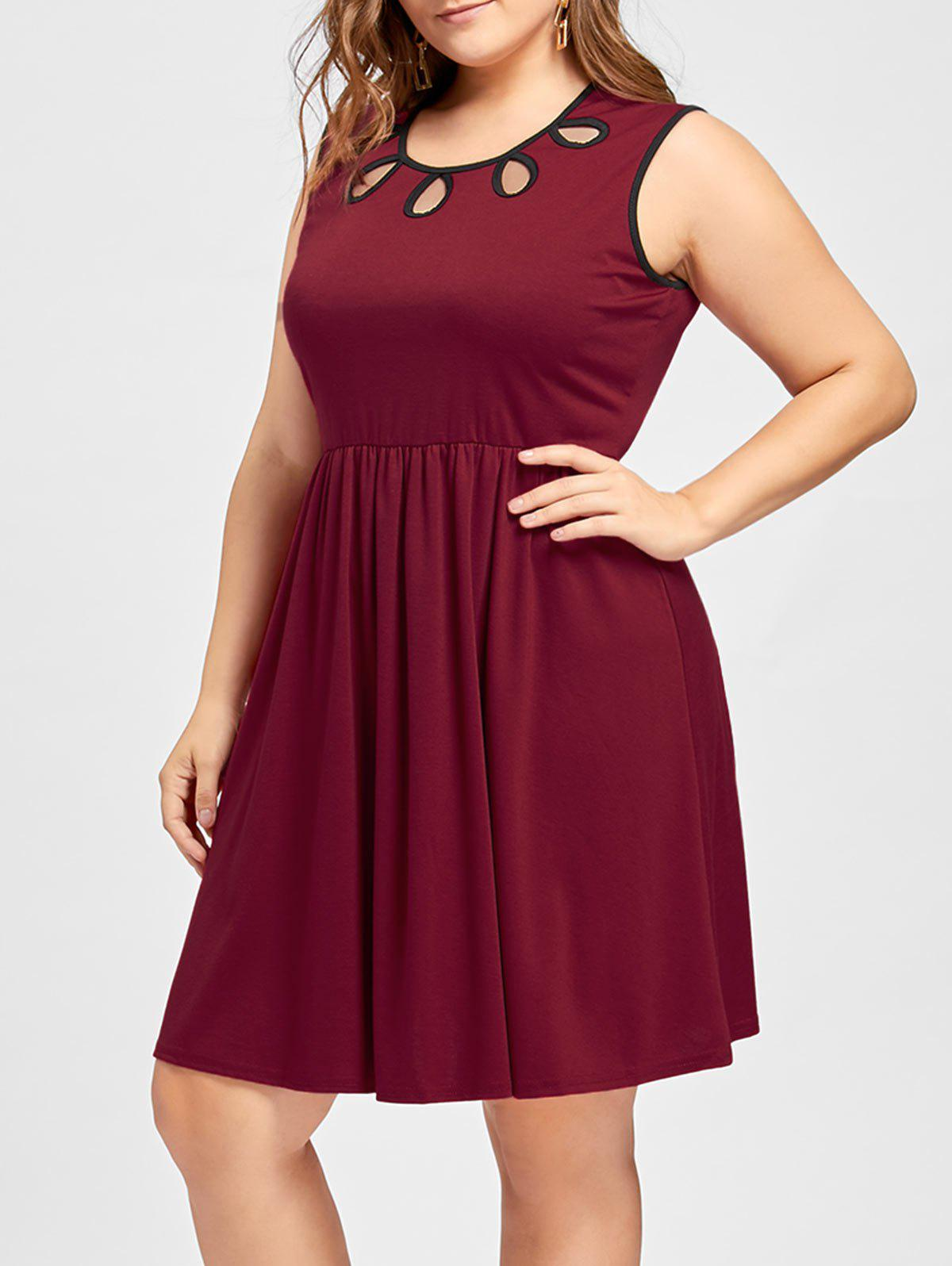 Online Cut Out Sleeveless Plus Size Dress