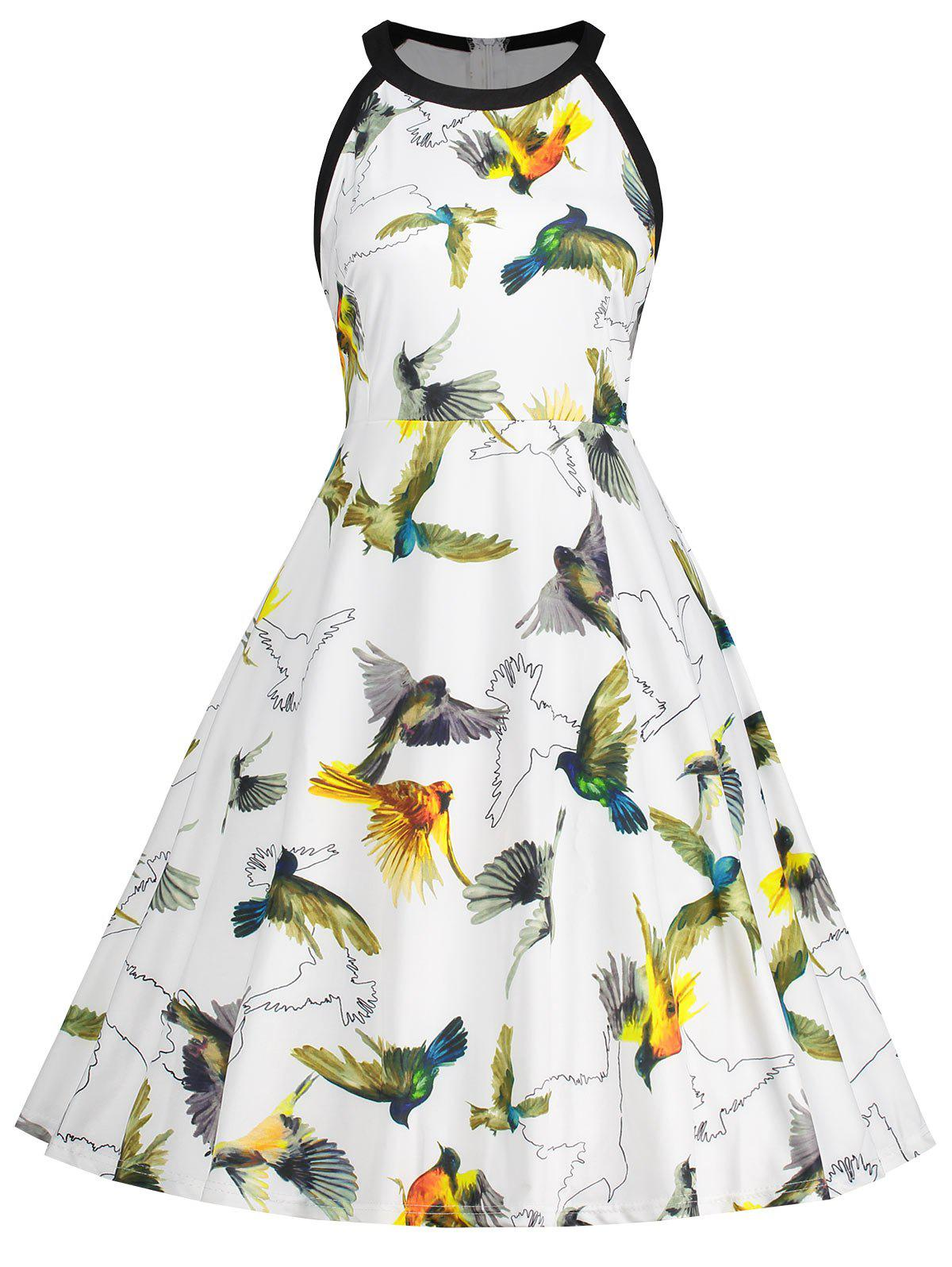 Hot Bird Print Sleeveless Plus Size Dress