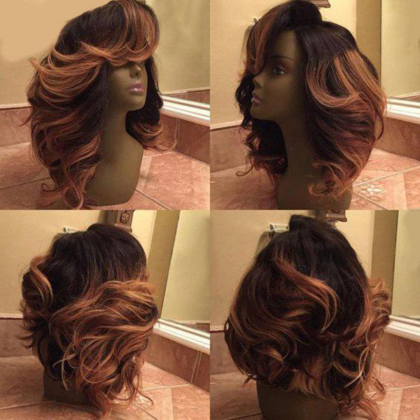 Latest Medium Colormix Deep Side Parting Wavy Synthetic Wig