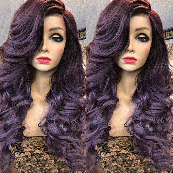 Sale Deep Side Parting Long Wavy Curly Synthetic Wig