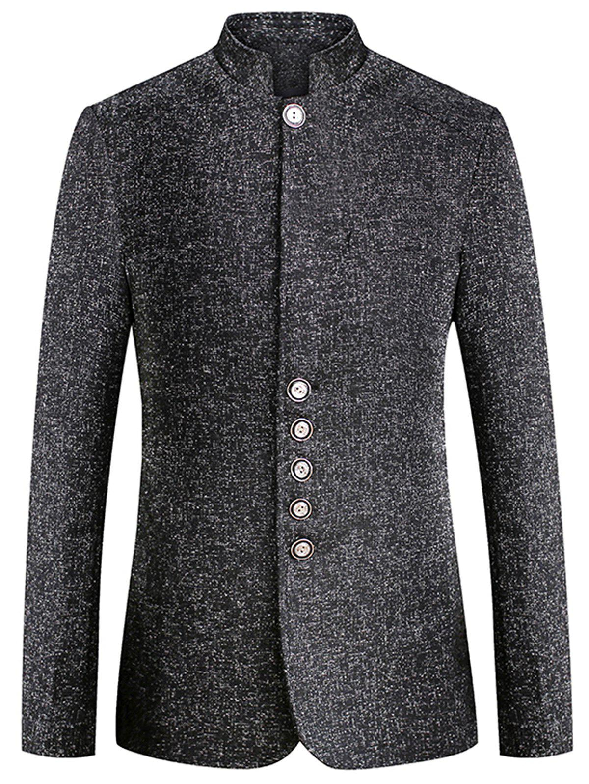 Discount Mandarin Collar Wool Blend Single Breasted Blazer