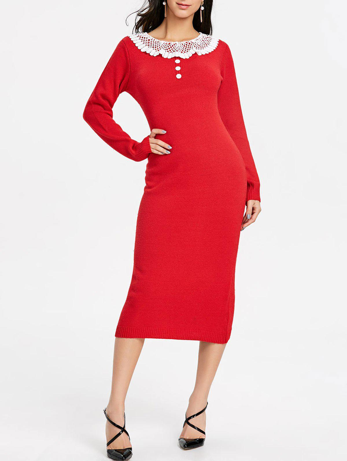 b148bbfb52f 2018 Midi Bodycon Sweater Dress In Red One Size