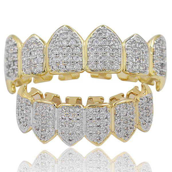 Online Hip Hop Rhinestone Top and Bottom Teeth Grillz Set