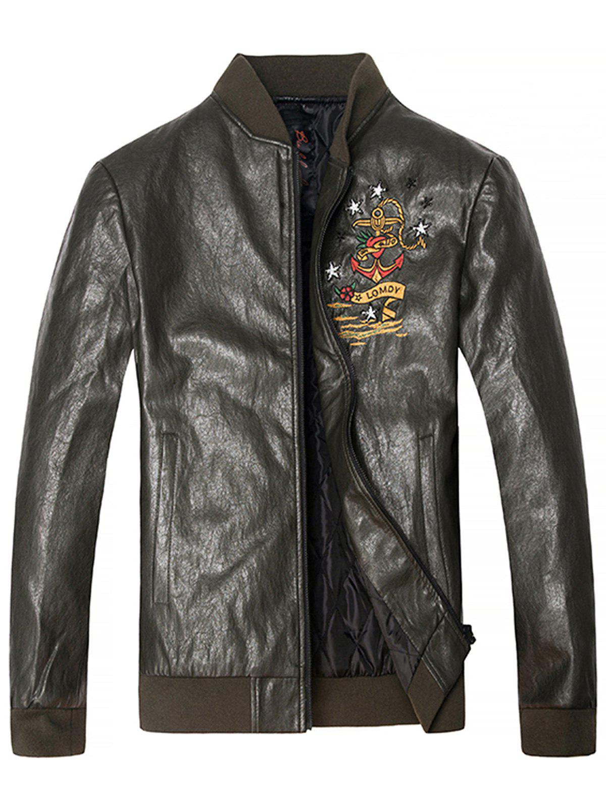 Shops Embroidered Zip Up PU Leather Jacket