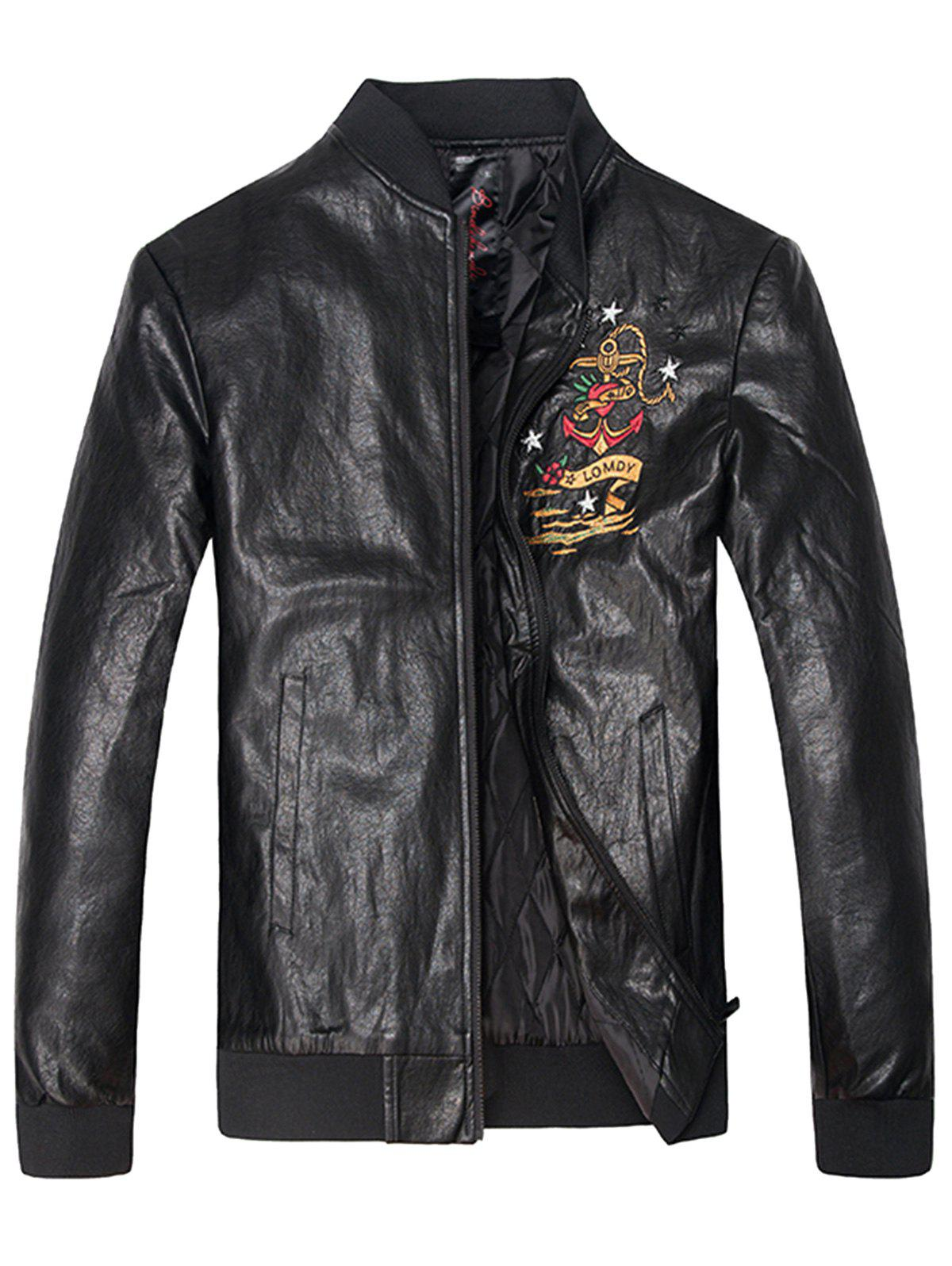 New Embroidered Zip Up PU Leather Jacket