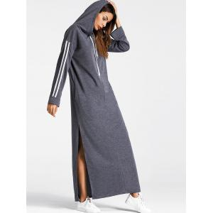 Drawstring High Slit Maxi Hoodie Dress -
