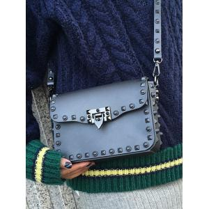 Flap Metal Studs Crossbody Bag -
