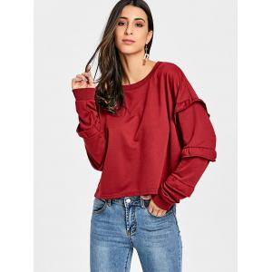 Ruffled Crew Neck Sweatshirt -
