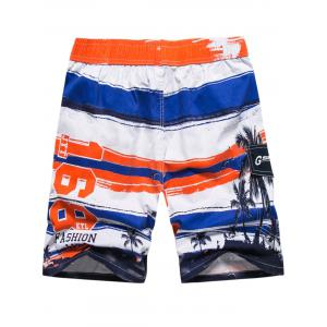 Colorblock Coconut Tree Print Beach Short -