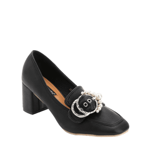 Chunky Heel Round Buckled Faux Pearl Pumps -