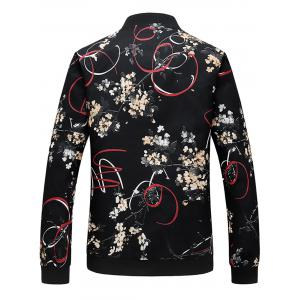 Zip Up 3D Florals Ribbon Print Jacket -