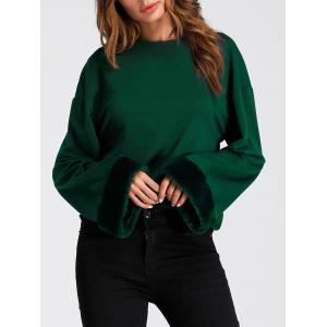 Faux Fur Panel Drop Shoulder Sweatshirt -