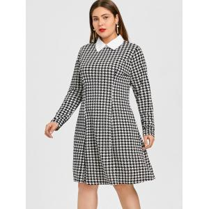 Houndstooth chemise col robe grande taille -