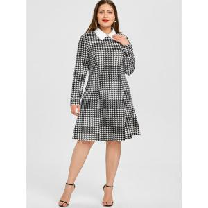 Houndstooth Shirt Collar Plus Size Dress -