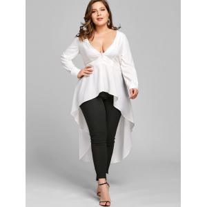 Plus Size Long Sleeve High Low Shirt -