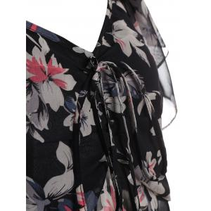Plus Size Floral Print Butterfly Sleeve Asymmetrical Blouse -