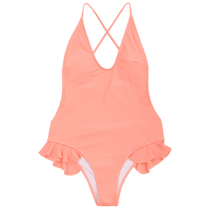 Ruffle Crisscross One Piece Swimsuit -