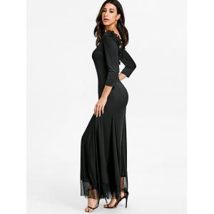 Back Lace Ruched Floor Length Dress -