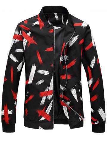 Fashion Zip Up Painting Printed Bomber Jacket