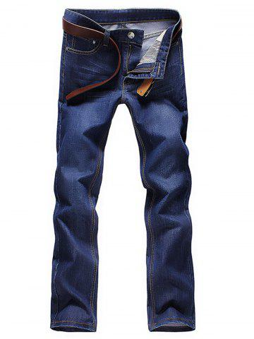 Affordable Bleach Wash Straight Leg Jeans