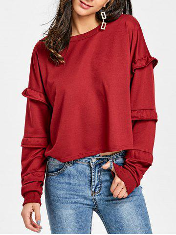 New Ruffled Crew Neck Sweatshirt