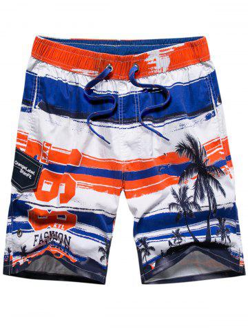 Sale Colorblock Coconut Tree Print Beach Short