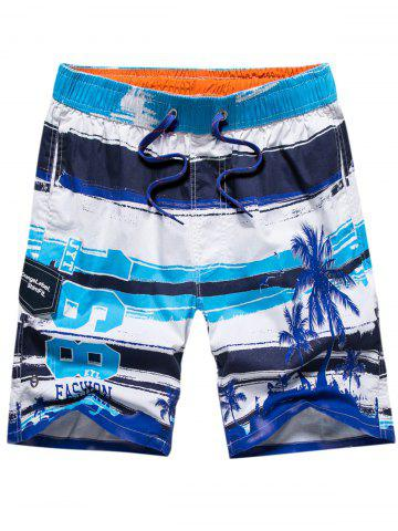 Store Colorblock Coconut Tree Print Beach Short