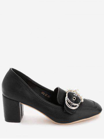 Trendy Chunky Heel Round Buckled Faux Pearl Pumps