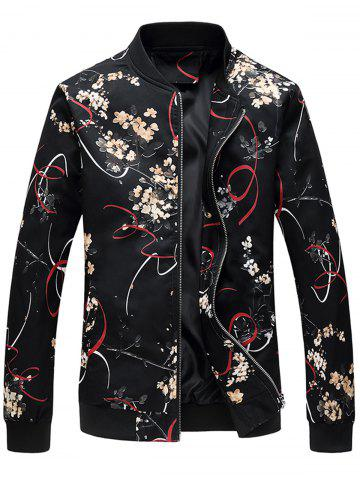 Trendy Zip Up 3D Florals Ribbon Print Jacket