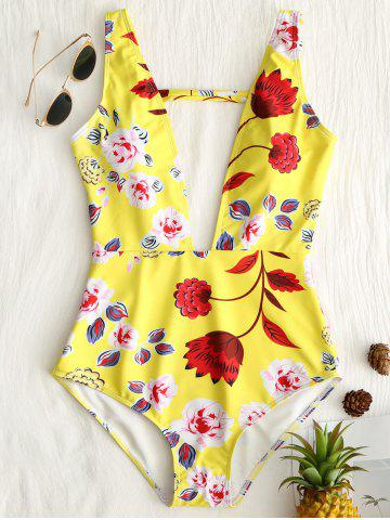 Best One Piece Floral Plunge Neck Swimsuit
