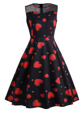 New Lace Insert Heart Print Vintage Dress