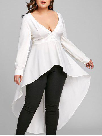 New Plus Size Long Sleeve High Low Shirt