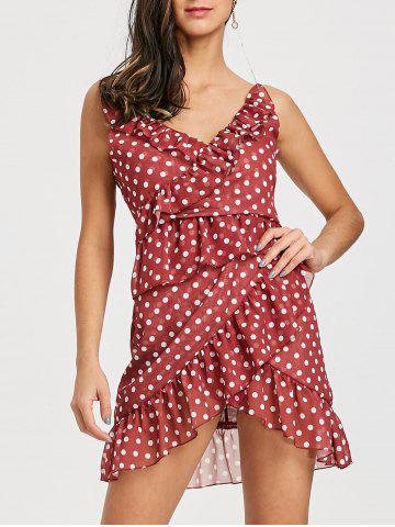 Outfit Cami Ruffle Polka Dot Asymmetrical Dress